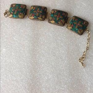 Vintage wide brass boho bracelet
